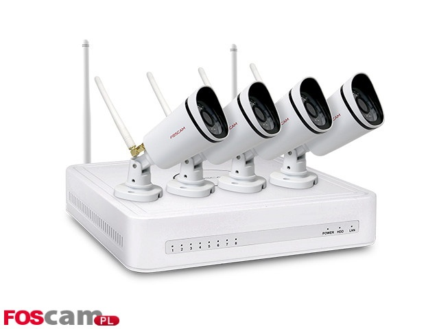 ZESTAW DO MONITORINGU 4X720P WIFI IP FOSCAM FN3104W-B4-1T (1XNVR FN3104WIFI, 4XFI9800P, HDD 1TB